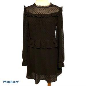 Romeo & Juliet Swiss Dot Dress Black Junior Small